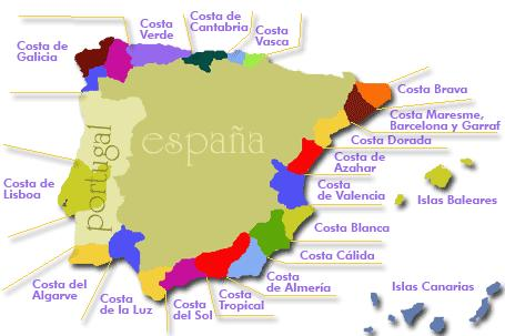 Overzicht Van Alle Spaanse Costa S Met Naam Kaart En Informatie